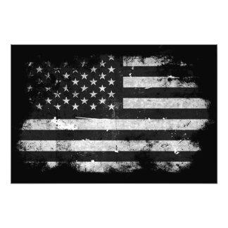 Bandeira americana do Grunge preto e branco Arte De Fotos