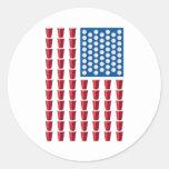 Bandeira americana do jogo do bebendo de Pong da Adesivo Em Formato Redondo