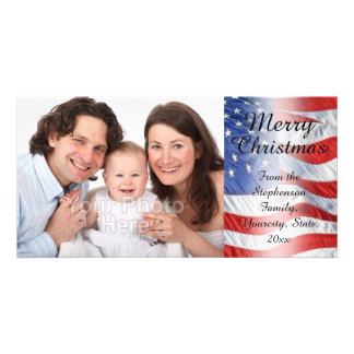 Bandeira americana do Natal militar patriótico Cartão Com Foto