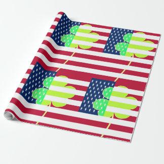 Bandeira americana do trevo de St Patrick EUA Papel De Presente