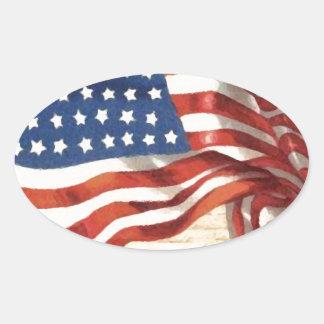 Bandeira americana do vintage adesivo oval