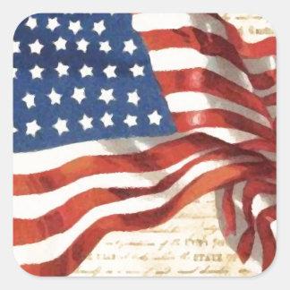Bandeira americana do vintage adesivo quadrado