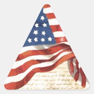 Bandeira americana do vintage adesivo triangular