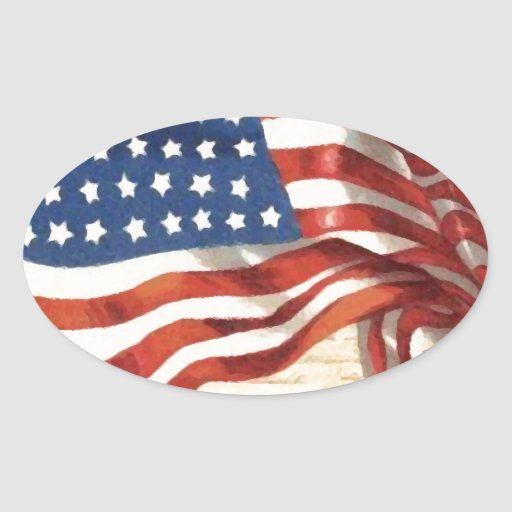 Bandeira americana do vintage adesivos em formato oval