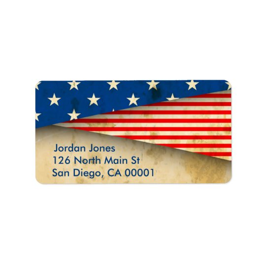 Bandeira americana do vintage etiqueta de endereço