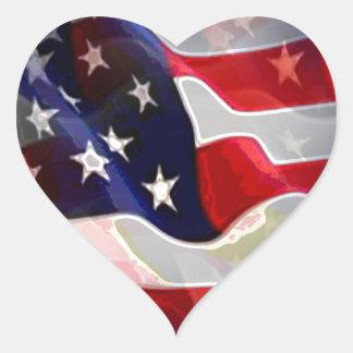 Bandeira americana dos E.U. Adesivo Coração