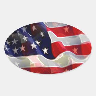 Bandeira americana dos E.U. Adesivo Oval