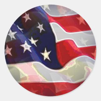 Bandeira americana dos E U Adesivos Redondos