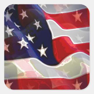 Bandeira americana dos E.U. Adesivo Quadrado