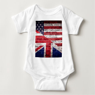 Bandeira americana e britânica body para bebê