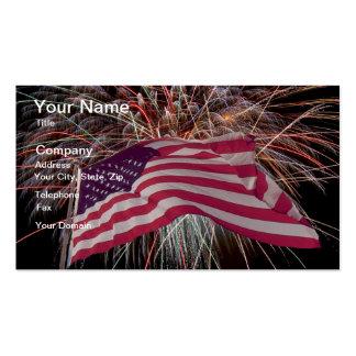 Bandeira americana e fogos-de-artifício cartão de visita