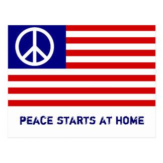 Bandeira americana e sinal de paz cartão postal