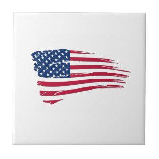 Bandeira americana esfarrapada azulejo quadrado pequeno