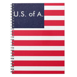 Bandeira americana EUA cadernos o 4 de julho