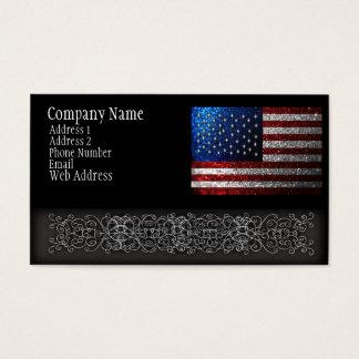Bandeira americana no brilho cartão de visitas