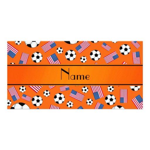 Bandeira americana personalizada do futebol alaran cartões com foto