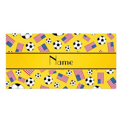 Bandeira americana personalizada do futebol amarel cartões com fotos personalizados