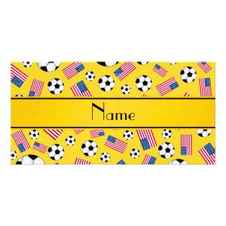 Bandeira americana personalizada do futebol cartão com foto