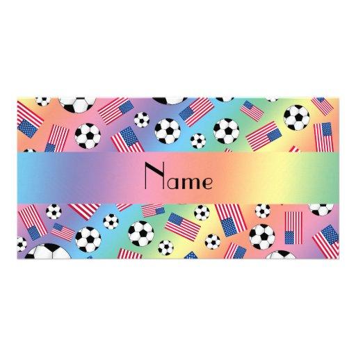 Bandeira americana personalizada do futebol conhec cartões com fotos
