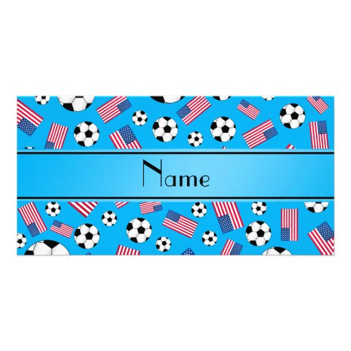 Bandeira americana personalizada do futebol conhec cartao com fotos personalizado