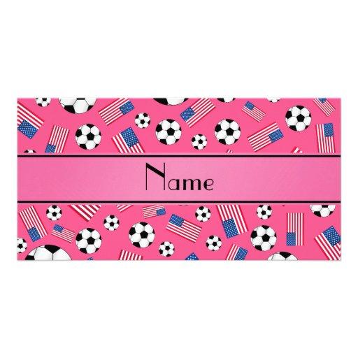 Bandeira americana personalizada do futebol cor-de cartão com foto