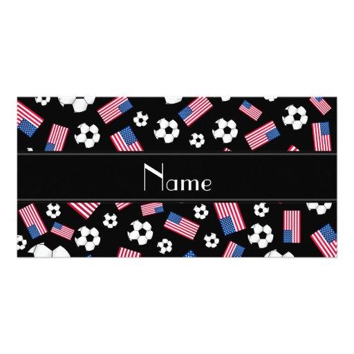 Bandeira americana personalizada do futebol preto  cartão com fotos personalizado