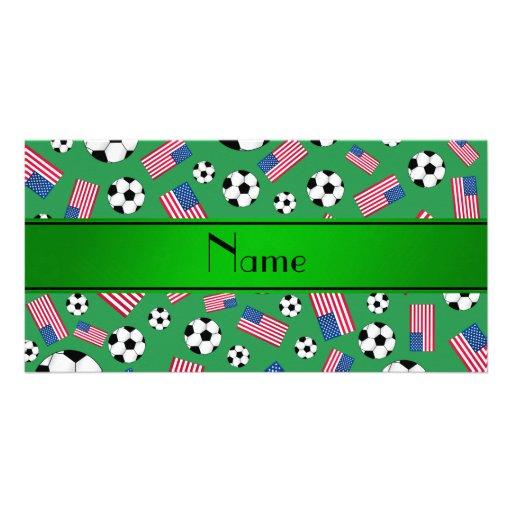 Bandeira americana personalizada do futebol verde  cartoes com foto personalizados