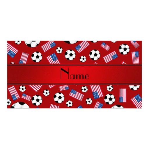 Bandeira americana personalizada do futebol vermel cartoes com foto