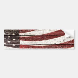 Bandeira americana pintada na textura de madeira adesivo para carro