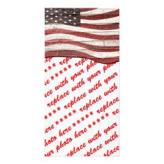 Bandeira americana pintada na textura de madeira cartão com foto