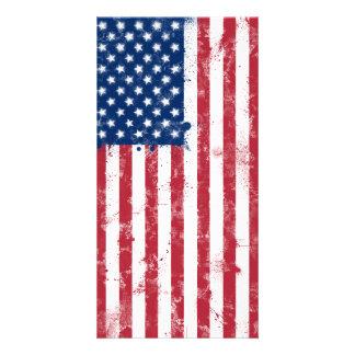 Bandeira americana pintada Splatter Cartão Com Foto