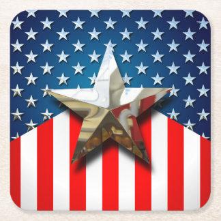 Bandeira americana porta-copo de papel quadrado