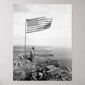 Bandeira americana que voa sobre a montagem pôster