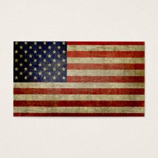 Bandeira americana resistida, afligida cartão de visitas