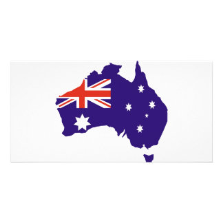 Bandeira australiana azul do mapa cartão com foto