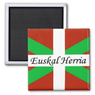 Bandeira Basque com o ímã de Euskal Herria Ímã Quadrado