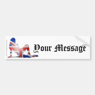Bandeira britânica da silhueta da menina adesivo