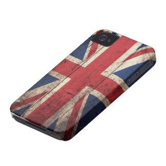 Bandeira britânica de madeira velha capas para iPhone 4 Case-Mate