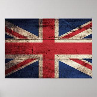 Bandeira britânica de madeira velha poster
