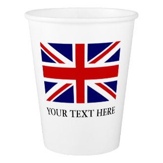 Bandeira britânica de Union Jack copos de papel