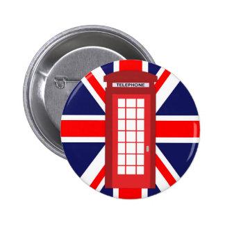 Bandeira britânica de Union Jack da caixa do Bóton Redondo 5.08cm
