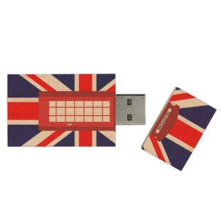 Bandeira britânica de Union Jack da caixa do Pen Drive De Madeira