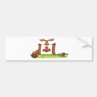 Bandeira canadense com alces, castor e ganso adesivo para carro