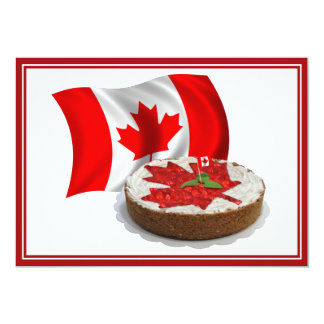 Bandeira canadense com o bolo da folha de bordo da convite