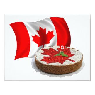 Bandeira canadense com o bolo da folha de bordo da convites personalizados