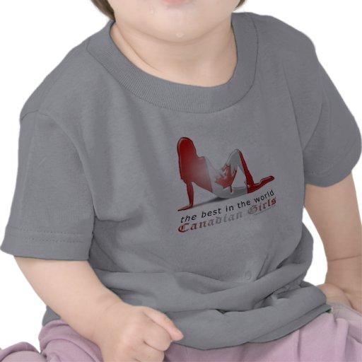 Bandeira canadense da silhueta da menina t-shirt