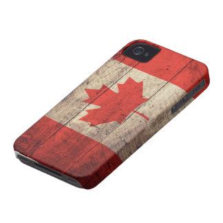 Bandeira canadense de madeira velha capa para iPhone 4 Case-Mate