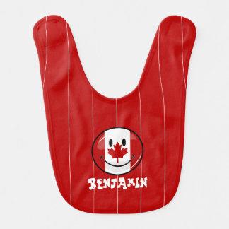 Bandeira canadense de sorriso do círculo lustroso babador de bebe