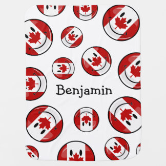 Bandeira canadense de sorriso do círculo lustroso manta de bebe