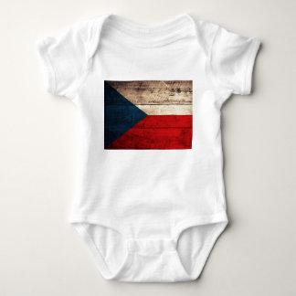 Bandeira checa de madeira velha tshirts